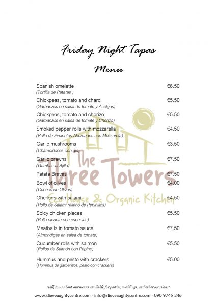 Spanish Tapas Night at The Three Towers